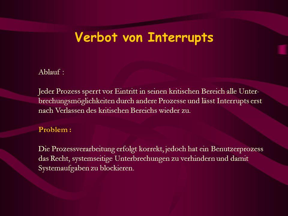 Verbot von Interrupts Ablauf : Jeder Prozess sperrt vor Eintritt in seinen kritischen Bereich alle Unter- brechungsmöglichkeiten durch andere Prozesse