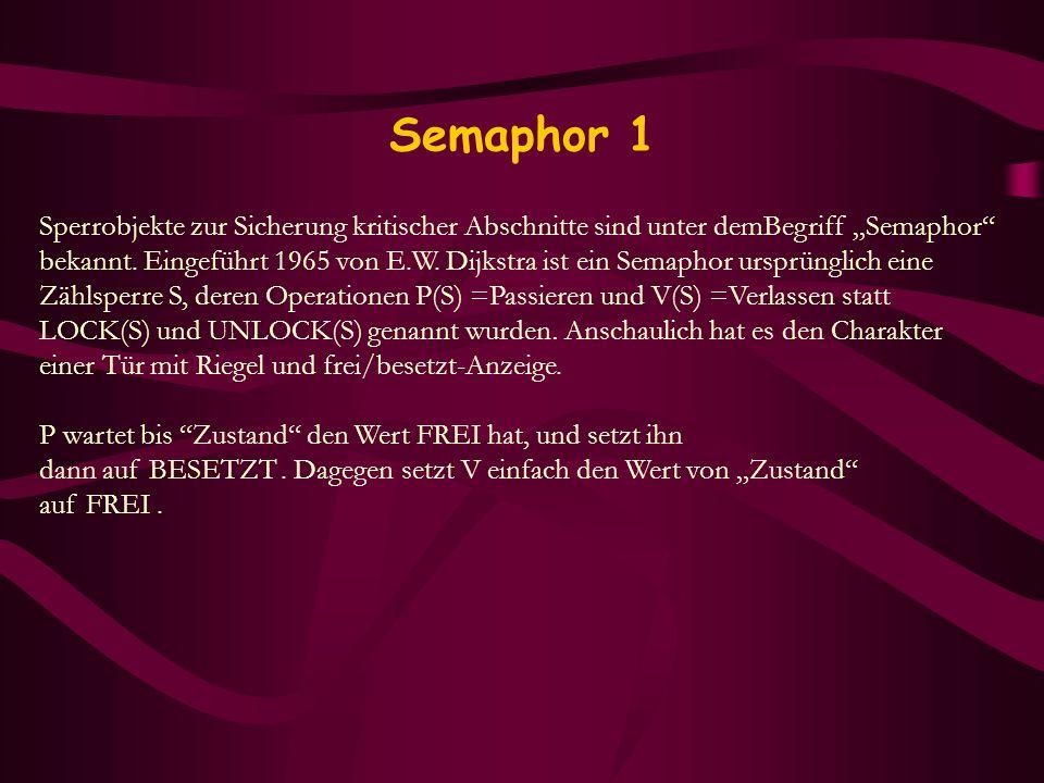 Semaphor 1 Sperrobjekte zur Sicherung kritischer Abschnitte sind unter demBegriff Semaphor bekannt. Eingeführt 1965 von E.W. Dijkstra ist ein Semaphor