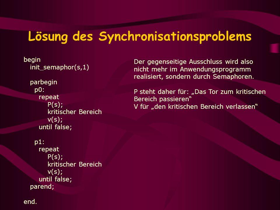 Lösung des Synchronisationsproblems begin init_semaphor(s,1) parbegin p0: repeat P(s); kritischer Bereich v(s); until false; p1: repeat P(s); kritisch