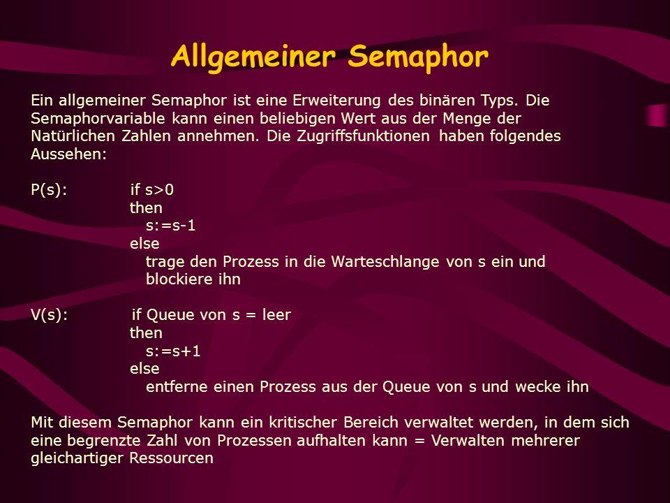 Allgemeiner Semaphor Ein allgemeiner Semaphor ist eine Erweiterung des binären Typs. Die Semaphorvariable kann einen beliebigen Wert aus der Menge der