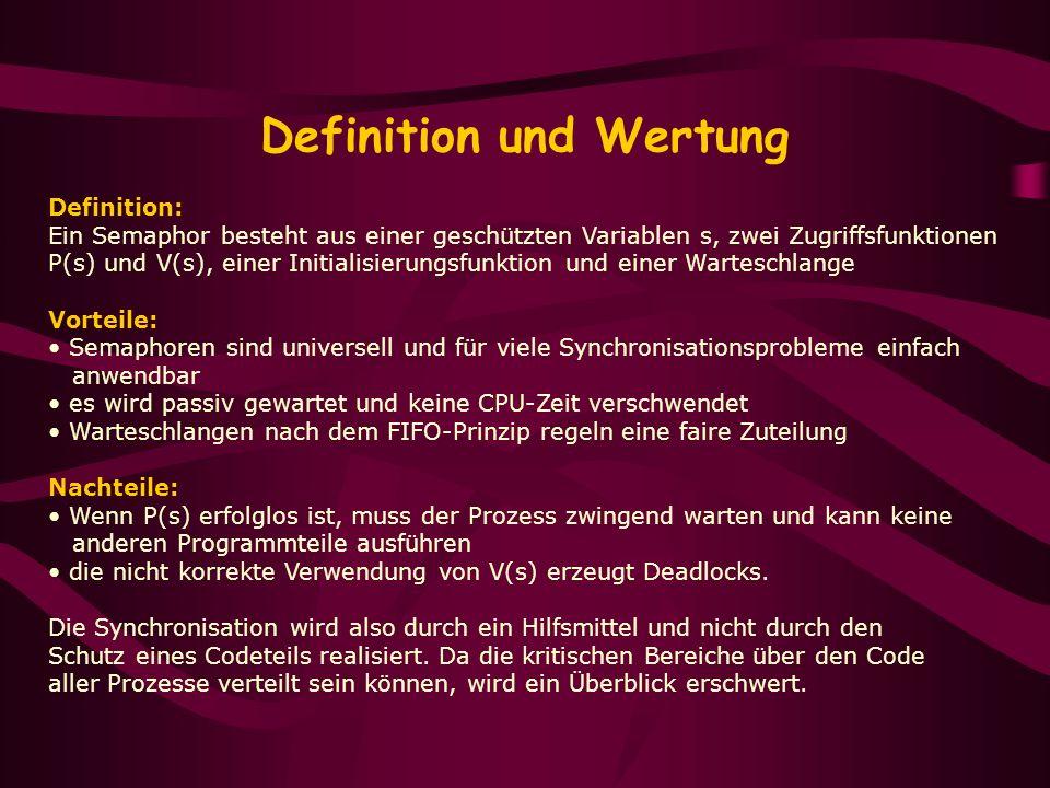 Definition und Wertung Definition: Ein Semaphor besteht aus einer geschützten Variablen s, zwei Zugriffsfunktionen P(s) und V(s), einer Initialisierun