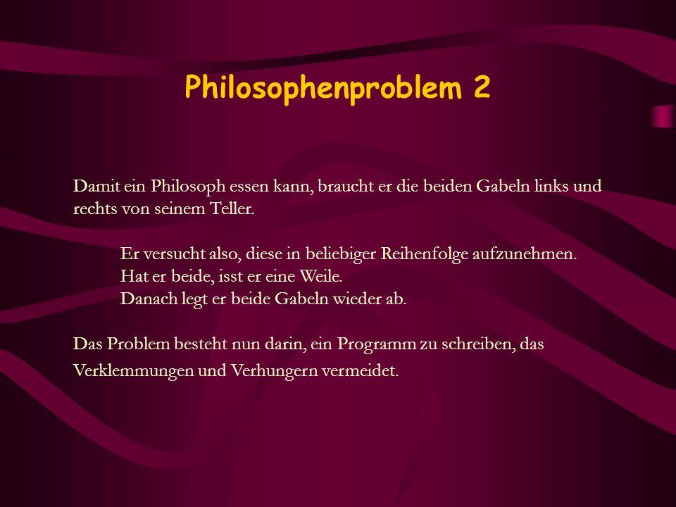 Philosophenproblem 2 Damit ein Philosoph essen kann, braucht er die beiden Gabeln links und rechts von seinem Teller. Er versucht also, diese in belie