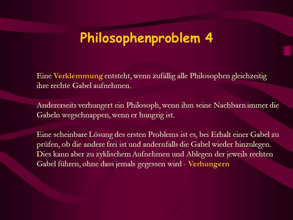 Philosophenproblem 4 Eine Verklemmung entsteht, wenn zufällig alle Philosophen gleichzeitig ihre rechte Gabel aufnehmen. Andererseits verhungert ein P