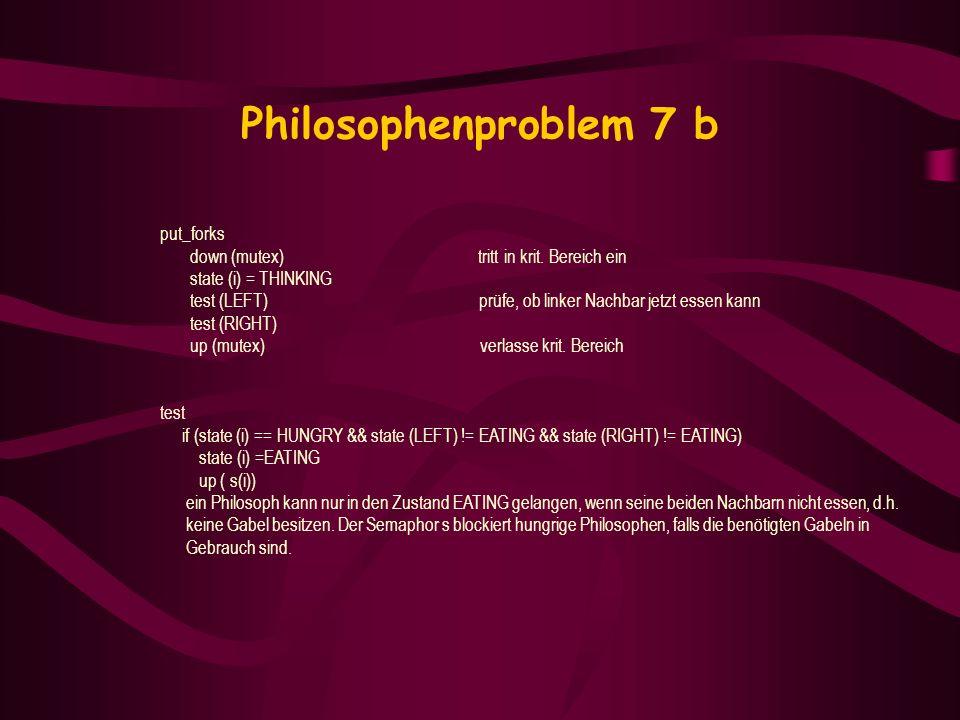 Philosophenproblem 7 b put_forks down (mutex) tritt in krit. Bereich ein state (i) = THINKING test (LEFT) prüfe, ob linker Nachbar jetzt essen kann te