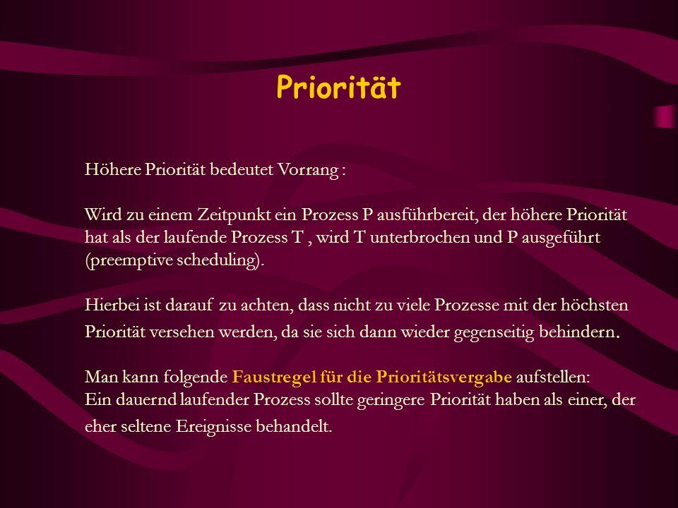 Priorität Höhere Priorität bedeutet Vorrang : Wird zu einem Zeitpunkt ein Prozess P ausführbereit, der höhere Priorität hat als der laufende Prozess T