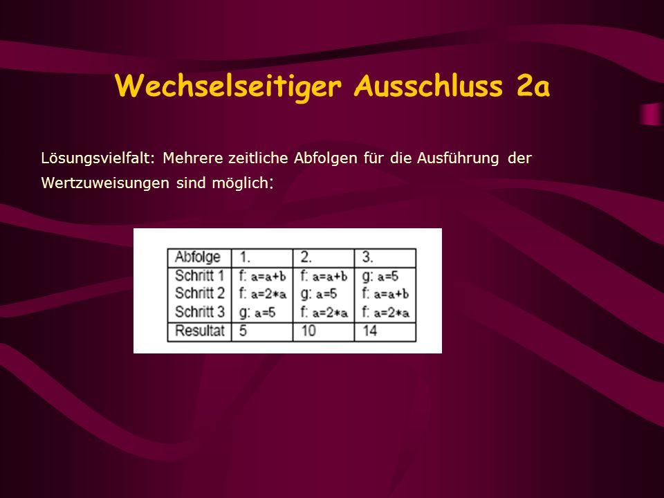 Wechselseitiger Ausschluss 2a Lösungsvielfalt: Mehrere zeitliche Abfolgen für die Ausführung der Wertzuweisungen sind möglich :