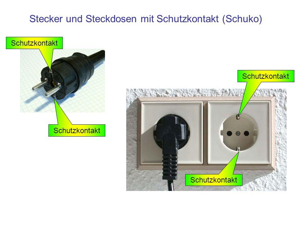 Stecker und Steckdosen mit Schutzkontakt (Schuko) Schutzkontakt