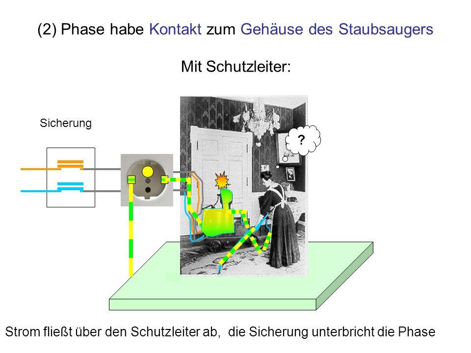 (2) Phase habe Kontakt zum Gehäuse des Staubsaugers ? Strom fließt über den Schutzleiter ab, die Sicherung unterbricht die Phase Mit Schutzleiter: Sic