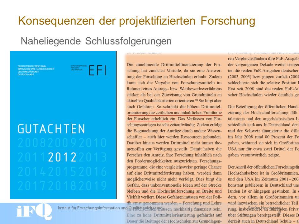 Konsequenzen der projektifizierten Forschung Institut für Forschungsinformation und Qualitätssicherung Stefan Hornbostel 18 Naheliegende Schlussfolgerungen