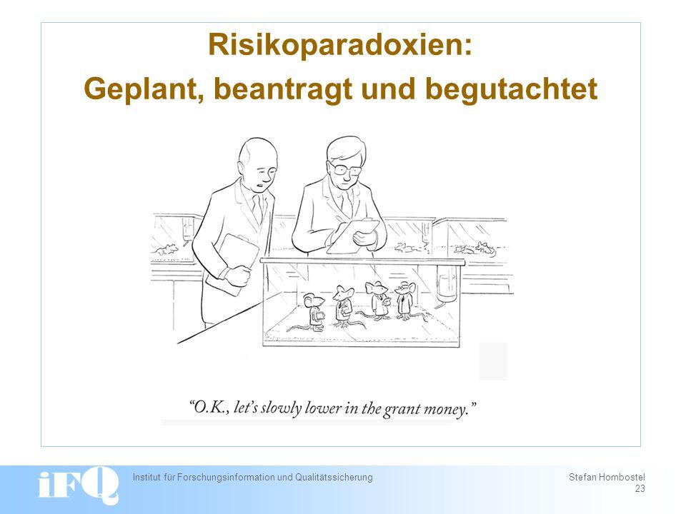 Risikoparadoxien: Geplant, beantragt und begutachtet Institut für Forschungsinformation und Qualitätssicherung Stefan Hornbostel 23