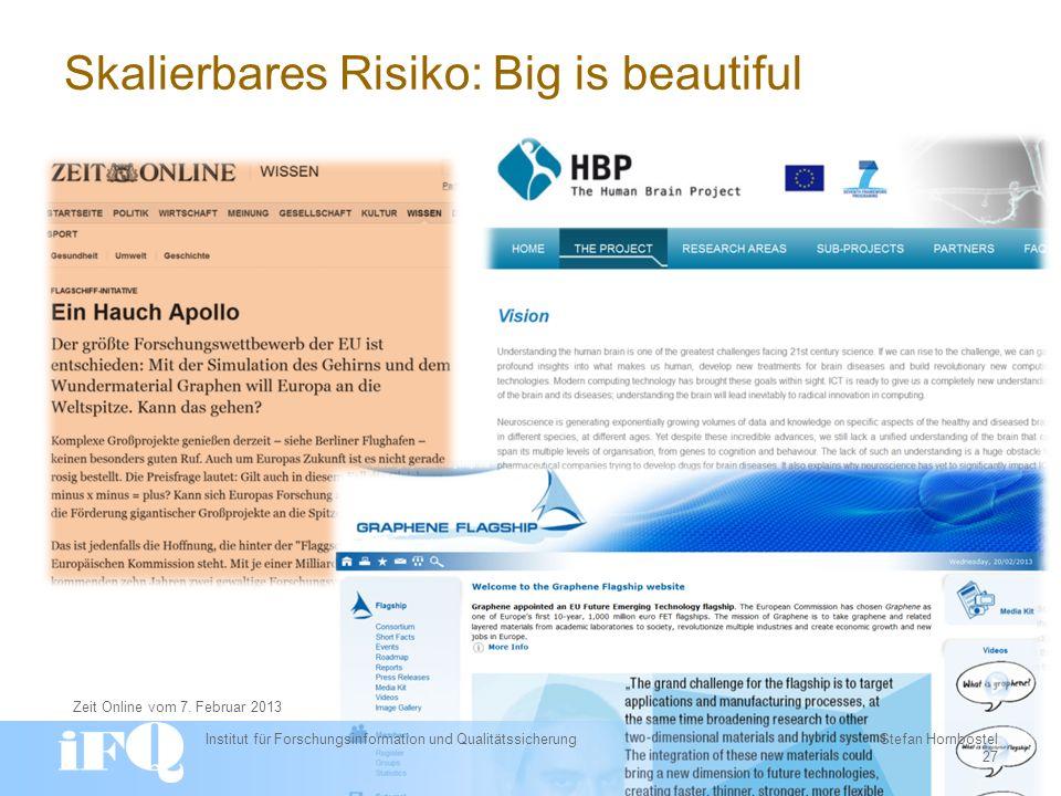 Skalierbares Risiko: Big is beautiful Institut für Forschungsinformation und Qualitätssicherung Stefan Hornbostel 27 Zeit Online vom 7.