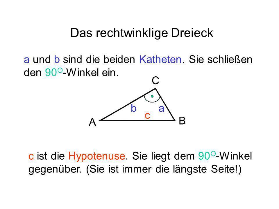 Das rechtwinklige Dreieck ab c a und b sind die beiden Katheten. Sie schließen den 90 O -Winkel ein. c ist die Hypotenuse. Sie liegt dem 90 O -Winkel
