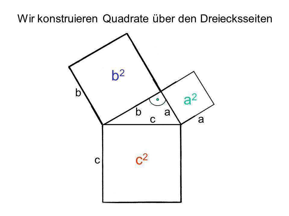 ab c a2a2 b2b2 c2c2 Der Satz des Pythagoras Die beiden Quadrate über den Katheten sind zusammen genau so groß, wie das Quadrat über der Hypotenuse.