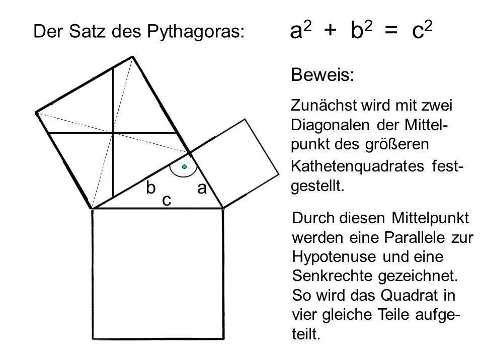 Der Satz des Pythagoras: a 2 + b 2 = c 2 ab c Beweis: Zunächst wird mit zwei Diagonalen der Mittel- punkt des größeren Kathetenquadrates fest- gestell