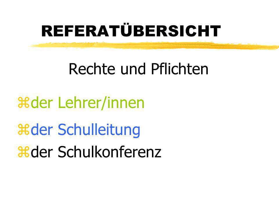 REFERATÜBERSICHT Rechte und Pflichten zder Lehrer/innen zder Schulleitung zder Schulkonferenz