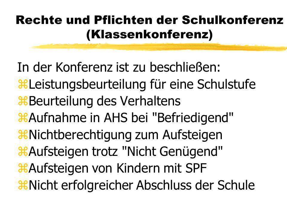 Rechte und Pflichten der Schulkonferenz (Klassenkonferenz) In der Konferenz ist zu beschließen: zLeistungsbeurteilung für eine Schulstufe zBeurteilung