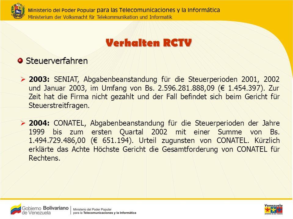 Verhalten RCTV 2003: SENIAT, Abgabenbeanstandung für die Steuerperioden 2001, 2002 und Januar 2003, im Umfang von Bs.