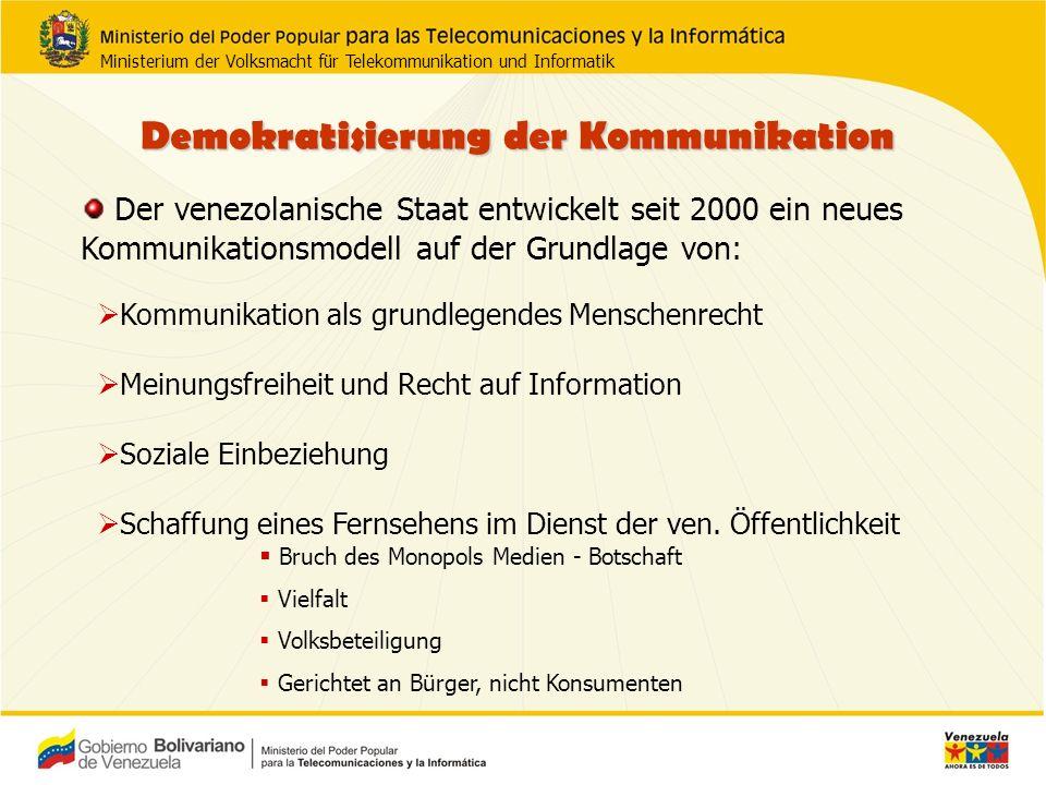Demokratisierung der Kommunikation FERNSEHEN RADIO 30 78 368 617 Stärkung der kommerziellen und nicht-kommerziellen privaten, öffentlichen und Gemeindekommunikation.
