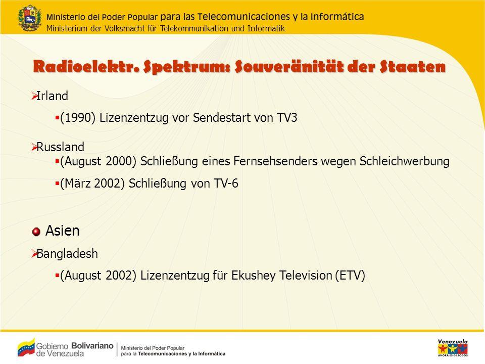 Irland (1990) Lizenzentzug vor Sendestart von TV3 Russland (August 2000) Schließung eines Fernsehsenders wegen Schleichwerbung (März 2002) Schließung von TV-6 Asien Bangladesh (August 2002) Lizenzentzug für Ekushey Television (ETV) Radioelektr.