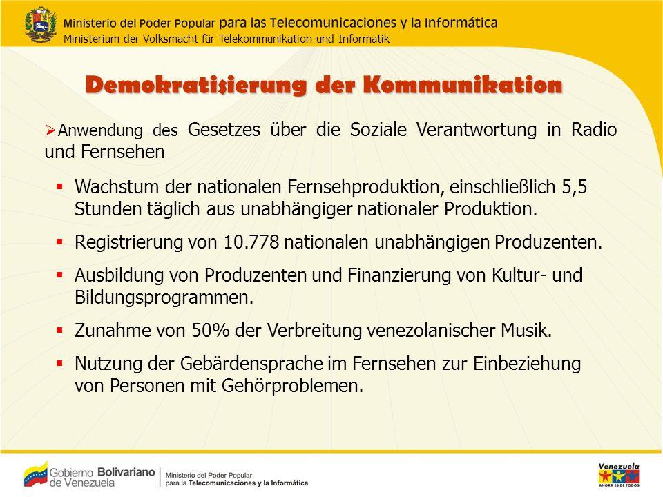 Demokratisierung der Kommunikation Registrierung der Organisationen der Nutzer von Radio und Fernsehen, 1.078 registriert.