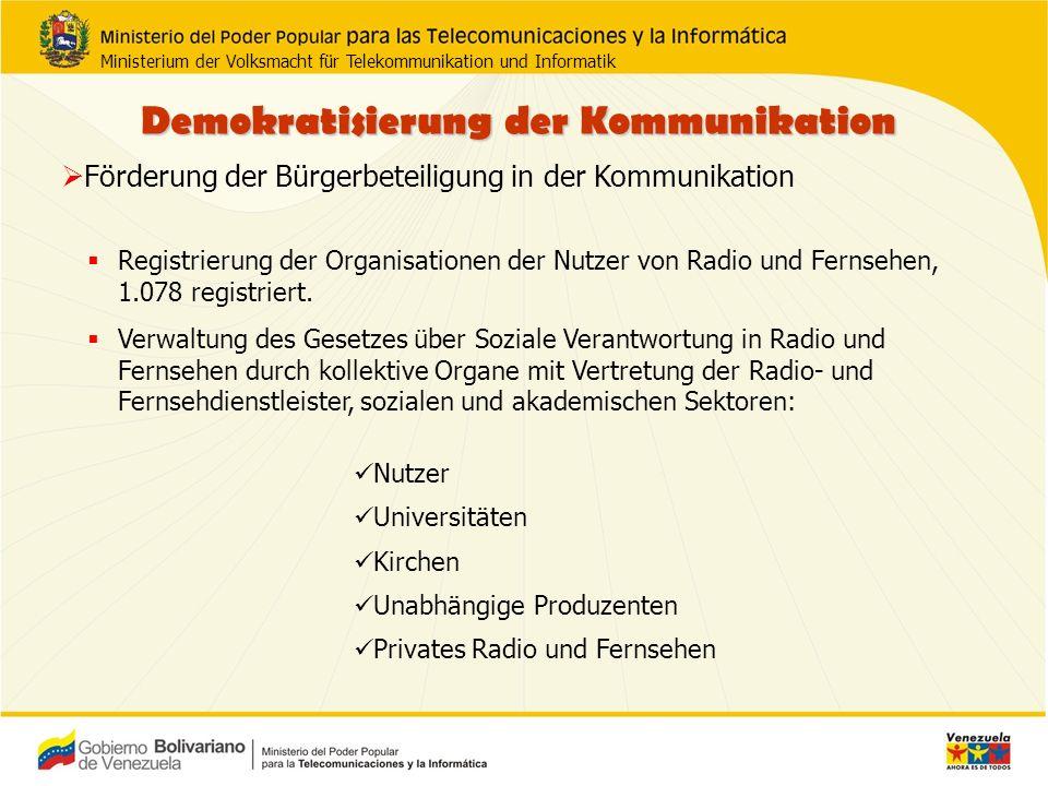 Radio und Fernsehen im öffentlichen Dienst Zu seinen Zielen gehört die Entwicklung von Radio und Fernsehen im öffentlichen Dienst.