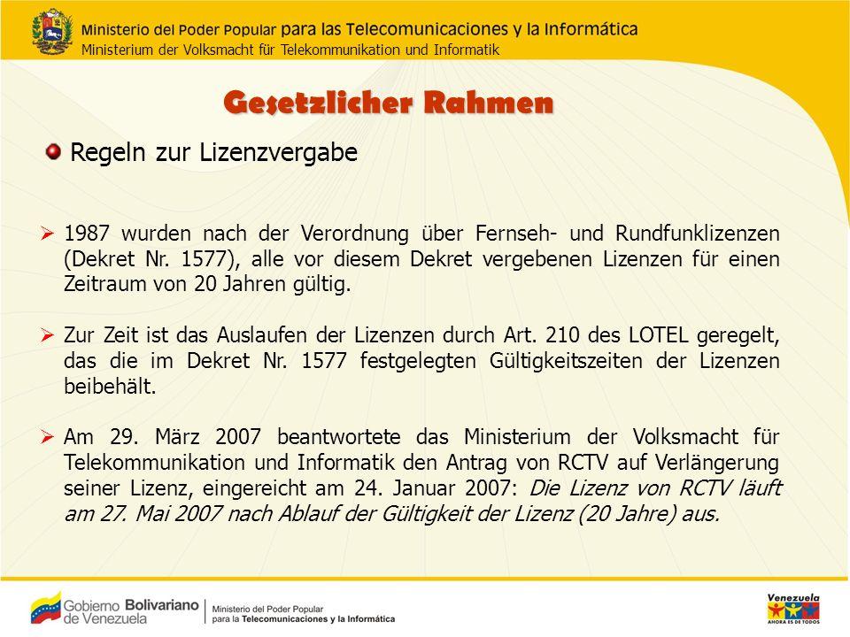 1987 wurden nach der Verordnung über Fernseh- und Rundfunklizenzen (Dekret Nr.