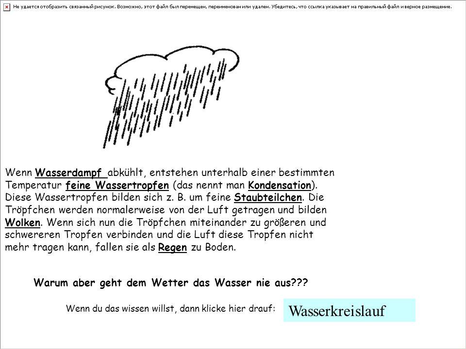 Wenn Wasserdampf abkühlt, entstehen unterhalb einer bestimmten Temperatur feine Wassertropfen (das nennt man Kondensation). Diese Wassertropfen bilden