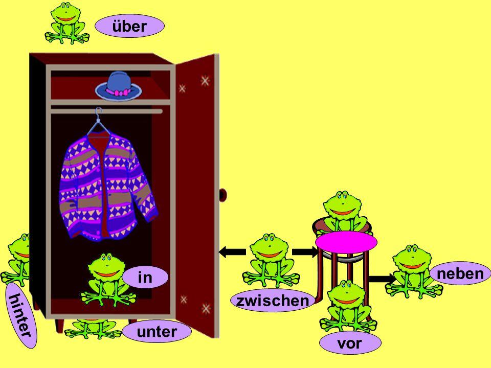 Wo ist Kermit? dem Bett der Kommode Kermit ist unter dem Schrank dem Schrank