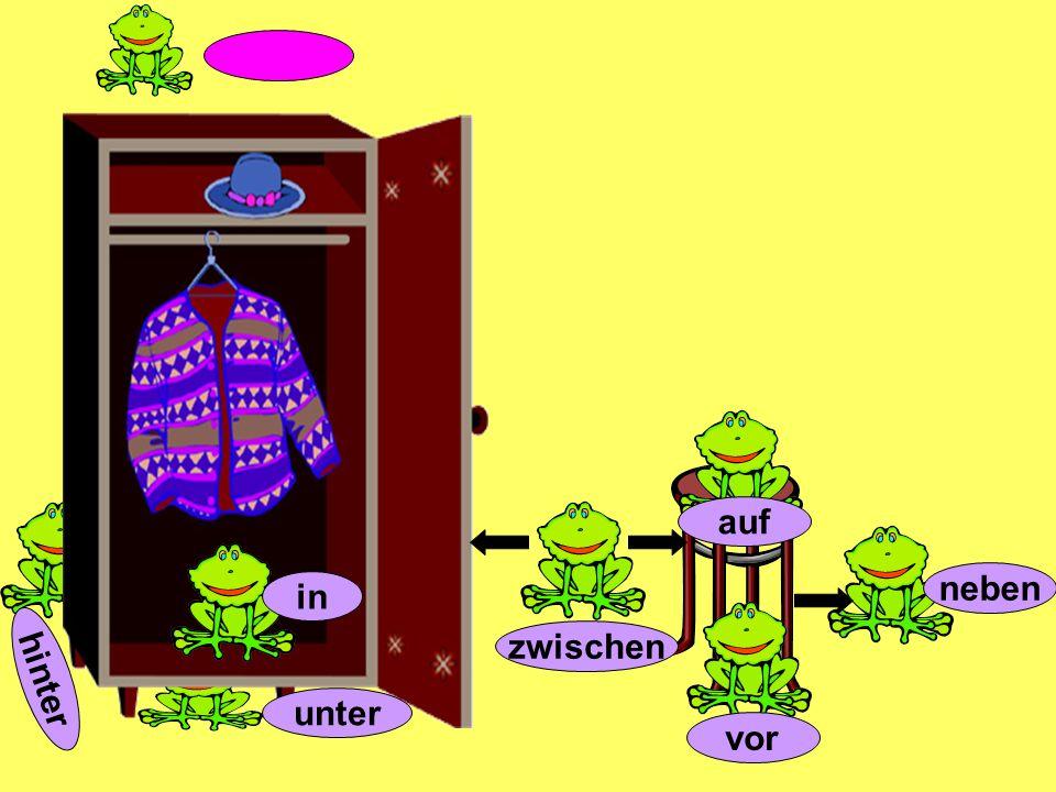 Ist der Kleiderschrank neben dem Schreibtisch?Nein, der Kleiderschrank ist neben der Tür!Ist der Fernseher im Regal?Nein, der Fernseher ist auf dem Kleiderschrank!Ist die Lampe neben dem Bett?Nein, die Lampe ist auf dem Schreibtisch.Ist der Computer hinter dem Fenster?Nein, der Computer ist vor dem Fenster auf dem SchreibtischIst das Regal neben dem Bett?Nein, das Regal ist neben der Tür.Sind die Bücher auf dem Bett?Nein, die Bücher sind im Regal.Ist die Lampe unter dem Schreibtisch?Nein, die Lampe ist auf dem Schreibtisch.Sind die Kuscheltiere unter dem Bett?Nein, die Kuscheltiere sind auf dem Bett.Ist das Poster über dem Regal?Nein, das Poster ist über dem Bett.Und wo ist Kermit?Kermit ist unter dem Bett!