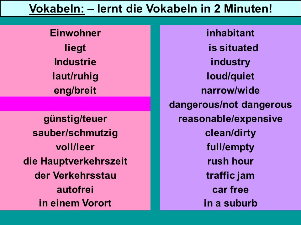 liegt Industrie laut/ruhig eng/breit gefährlich/ungefährlich günstig/teuer sauber/schmutzig voll/leer die Hauptverkehrszeit der Verkehrsstau autofrei is situated industry loud/quiet narrow/wide dangerous/not dangerous reasonable/expensive clean/dirty full/empty rush hour traffic jam car free inhabitant Vokabeln: – lernt die Vokabeln in 2 Minuten.