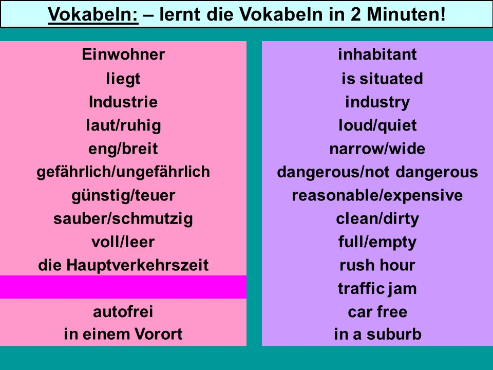 liegt Industrie laut/ruhig eng/breit günstig/teuer sauber/schmutzig voll/leer die Hauptverkehrszeit der Verkehrsstau autofrei is situated industry loud/quiet narrow/wide dangerous/not dangerous reasonable/expensive clean/dirty full/empty rush hour traffic jam car free Einwohnerinhabitant Vokabeln: – lernt die Vokabeln in 2 Minuten.