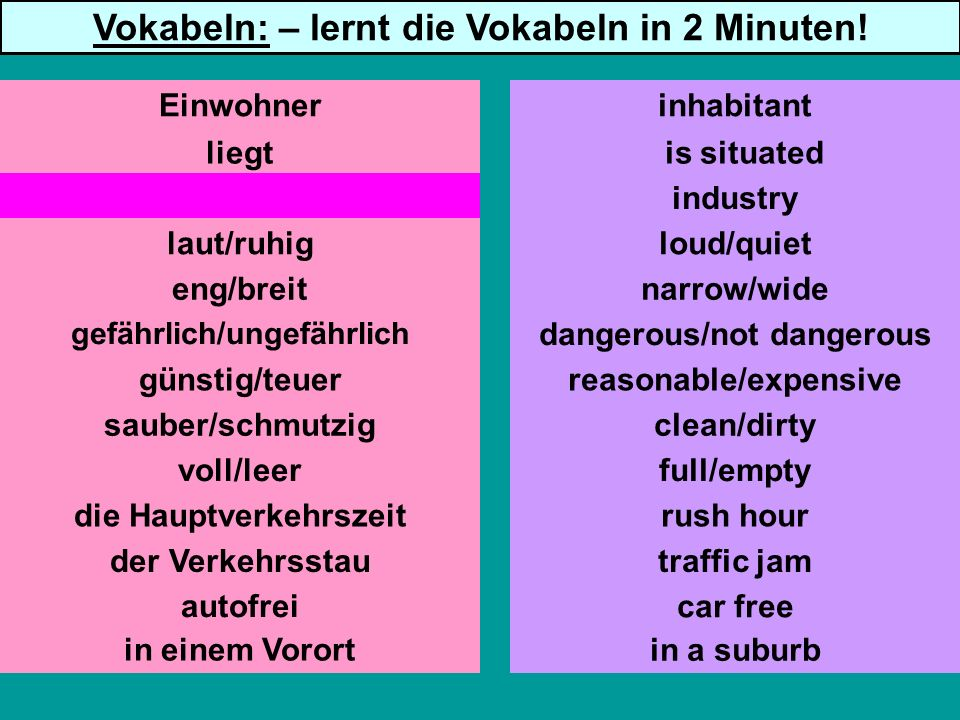 liegt Industrie laut/ruhig eng/breit gefährlich/ungefährlich günstig/teuer sauber/schmutzig voll/leer die Hauptverkehrszeit autofrei is situated industry loud/quiet narrow/wide dangerous/not dangerous reasonable/expensive clean/dirty full/empty rush hour traffic jam car free Einwohnerinhabitant Vokabeln: – lernt die Vokabeln in 2 Minuten.