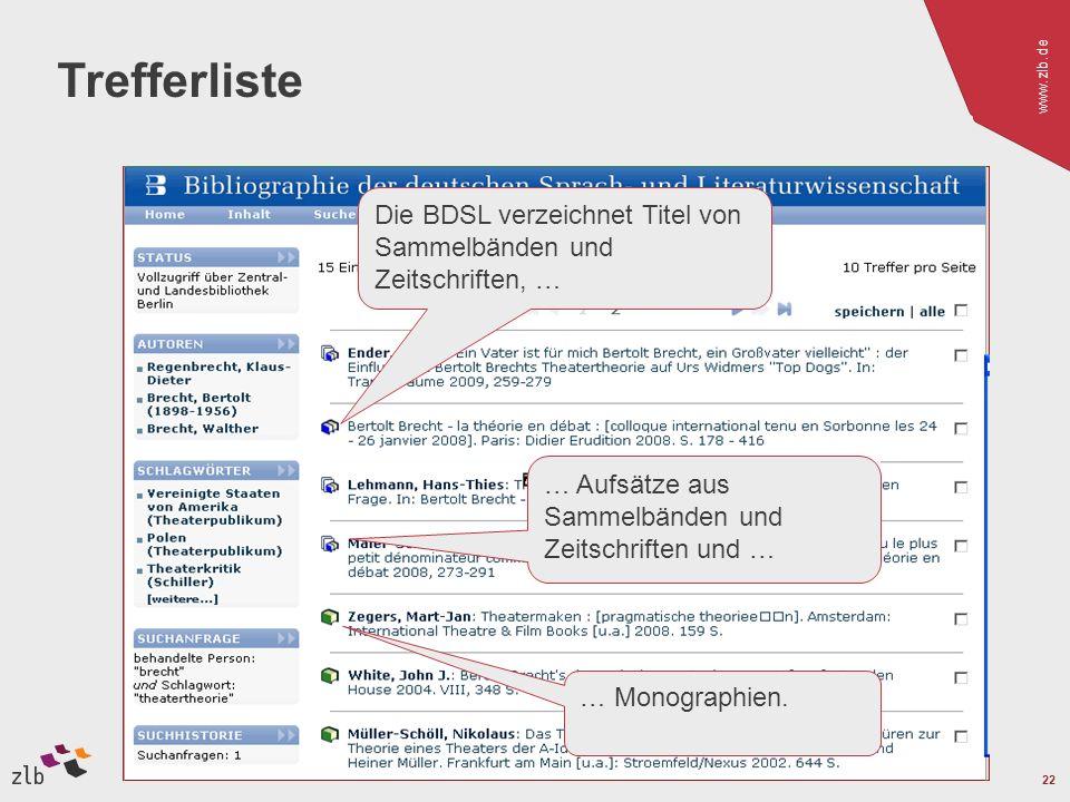 www.zlb.de 22 Trefferliste … Aufsätze aus Sammelbänden und Zeitschriften und … Die BDSL verzeichnet Titel von Sammelbänden und Zeitschriften, … … Monographien.
