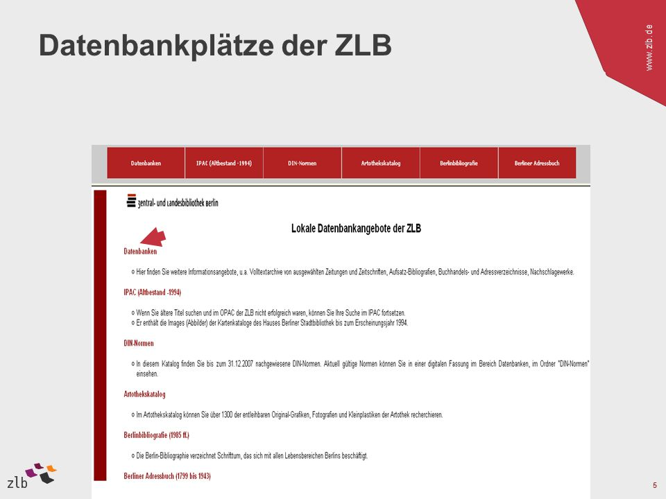 www.zlb.de 5 Datenbankplätze der ZLB