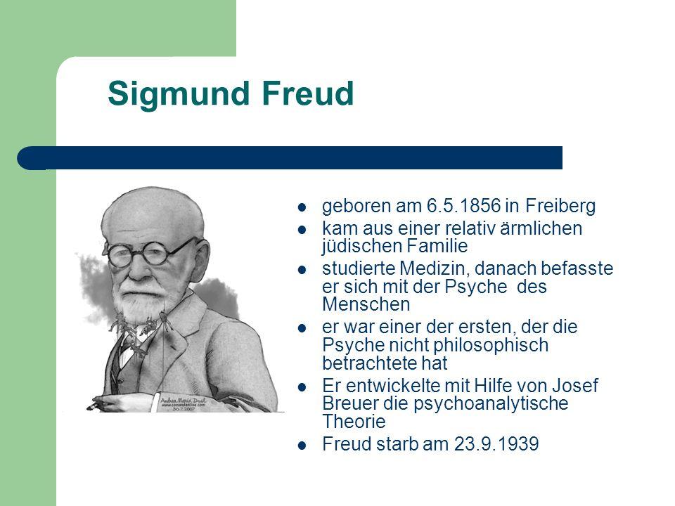 Sigmund Freud geboren am 6.5.1856 in Freiberg kam aus einer relativ ärmlichen jüdischen Familie studierte Medizin, danach befasste er sich mit der Psyche des Menschen er war einer der ersten, der die Psyche nicht philosophisch betrachtete hat Er entwickelte mit Hilfe von Josef Breuer die psychoanalytische Theorie Freud starb am 23.9.1939