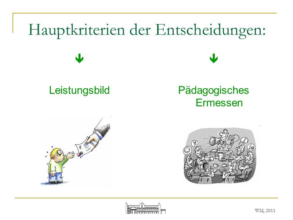 WM, 2011 Hauptkriterien der Entscheidungen: Leistungsbild Pädagogisches Ermessen