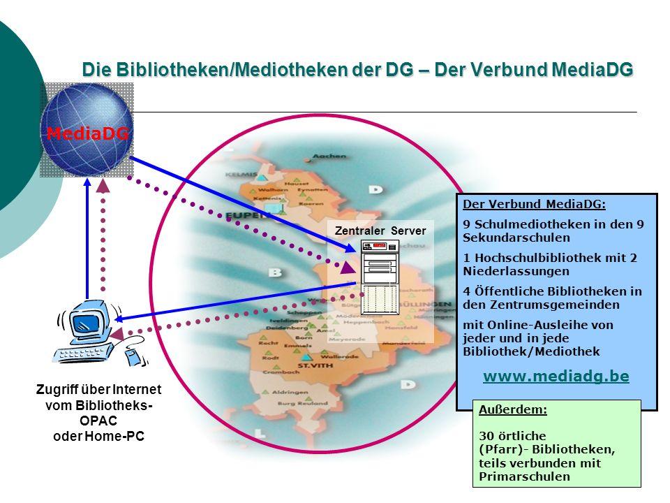 Zentraler Server Zugriff über Internet vom Bibliotheks- OPAC oder Home-PC MediaDG Die Bibliotheken/Mediotheken der DG – Der Verbund MediaDG Der Verbun