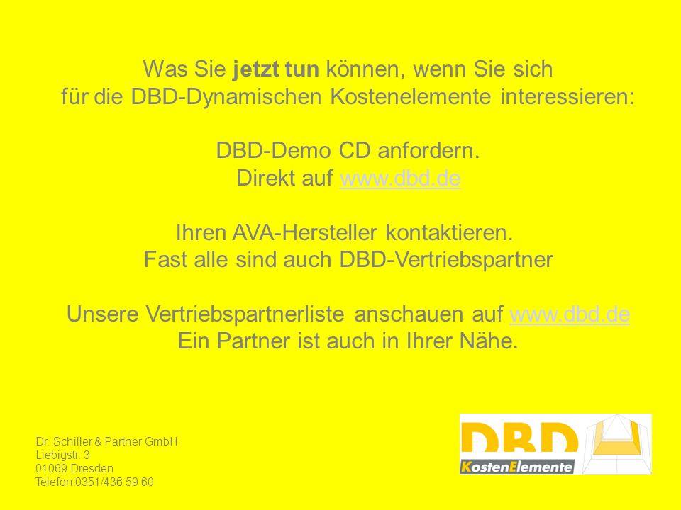 Was Sie jetzt tun können, wenn Sie sich für die DBD-Dynamischen Kostenelemente interessieren: DBD-Demo CD anfordern.