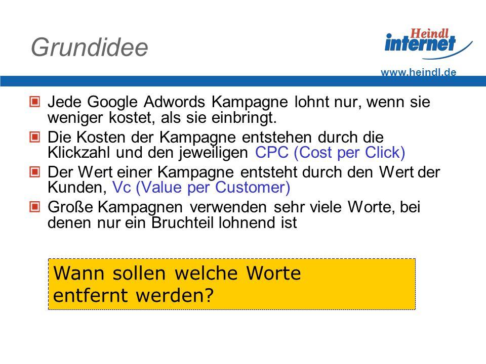 www.heindl.de Grundidee Jede Google Adwords Kampagne lohnt nur, wenn sie weniger kostet, als sie einbringt. Die Kosten der Kampagne entstehen durch di