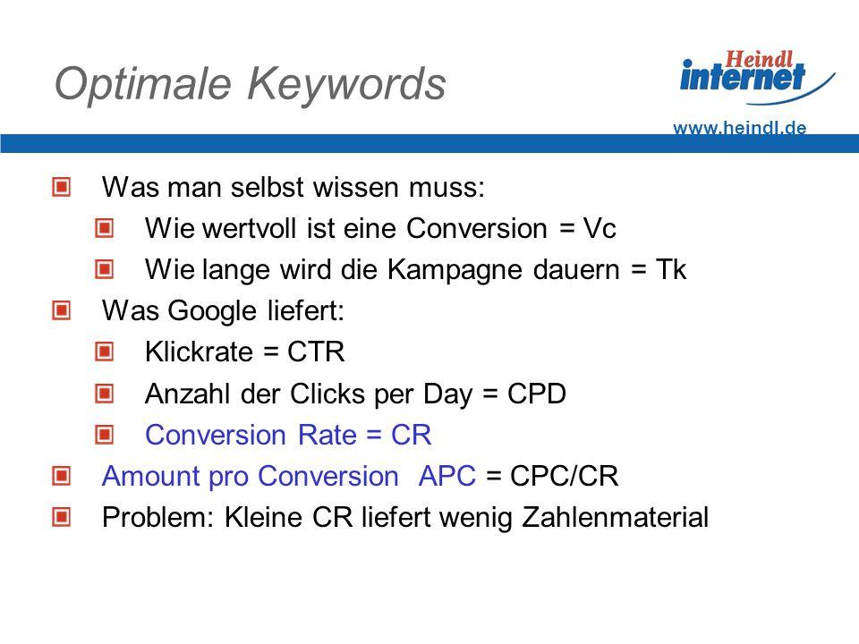 www.heindl.de Optimale Keywords Was man selbst wissen muss: Wie wertvoll ist eine Conversion = Vc Wie lange wird die Kampagne dauern = Tk Was Google l
