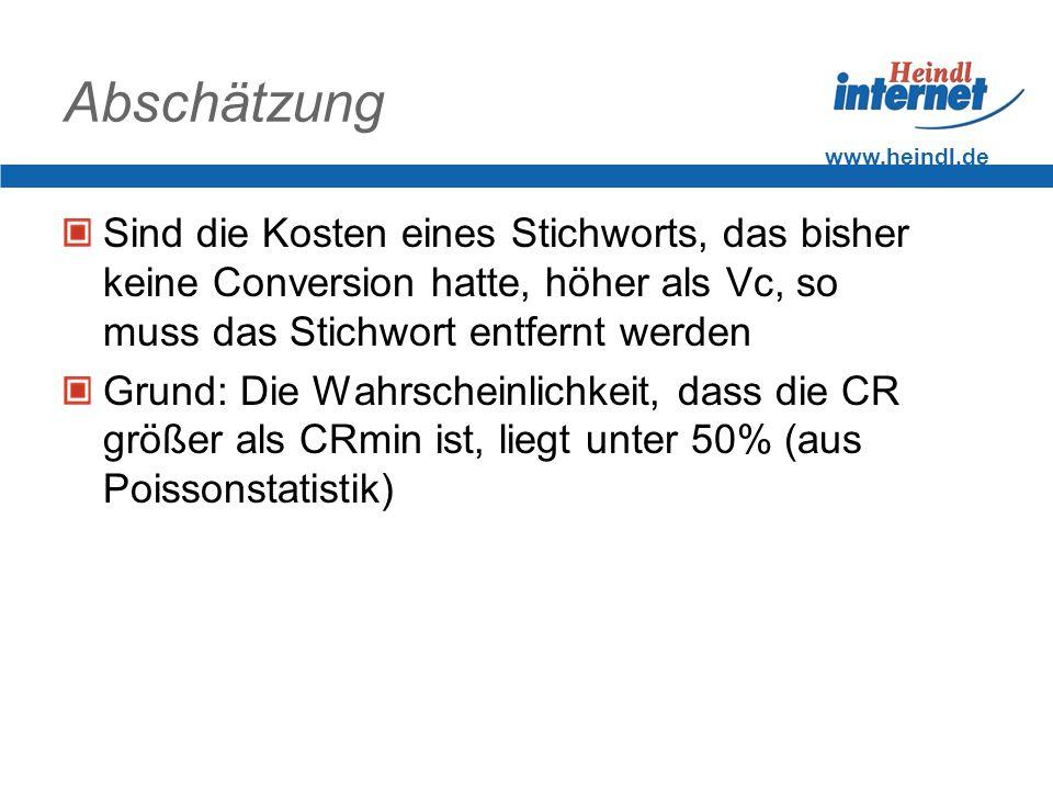 www.heindl.de Abschätzung Sind die Kosten eines Stichworts, das bisher keine Conversion hatte, höher als Vc, so muss das Stichwort entfernt werden Gru