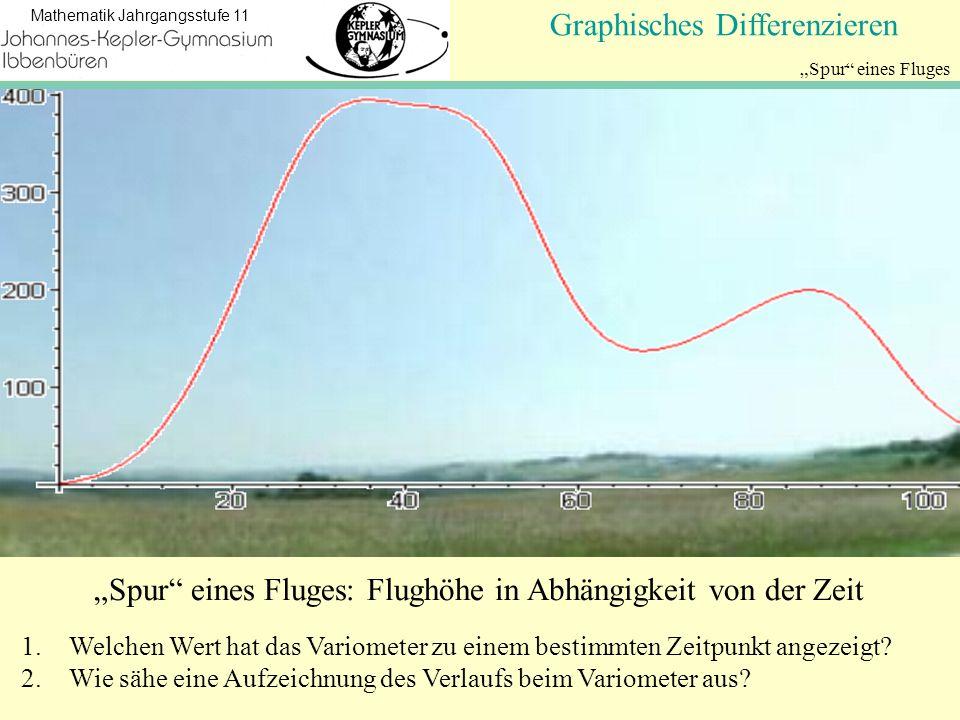Koordinatengeometrie Mathematik Jahrgangsstufe 11 Spur eines Fluges NullstellenGraphisches Differenzieren Spur eines Fluges: Flughöhe in Abhängigkeit