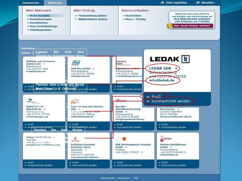 II. Das Netzwerk oder die internen Funktionen für das Mitglied von MyBizGate.de Lassen Sie sich hier sämtliche Kontaktdaten Ihres Partners anzeigen Se