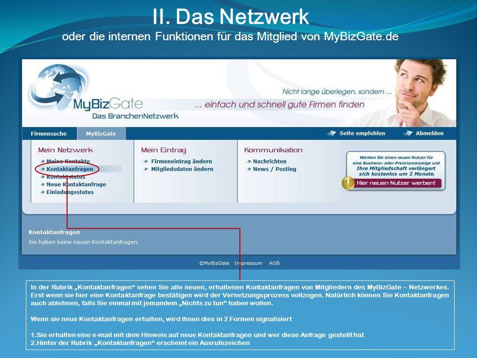 II. Das Netzwerk oder die internen Funktionen für das Mitglied von MyBizGate.de In der Rubrik Kontaktanfragen sehen Sie alle neuen, erhaltenen Kontakt