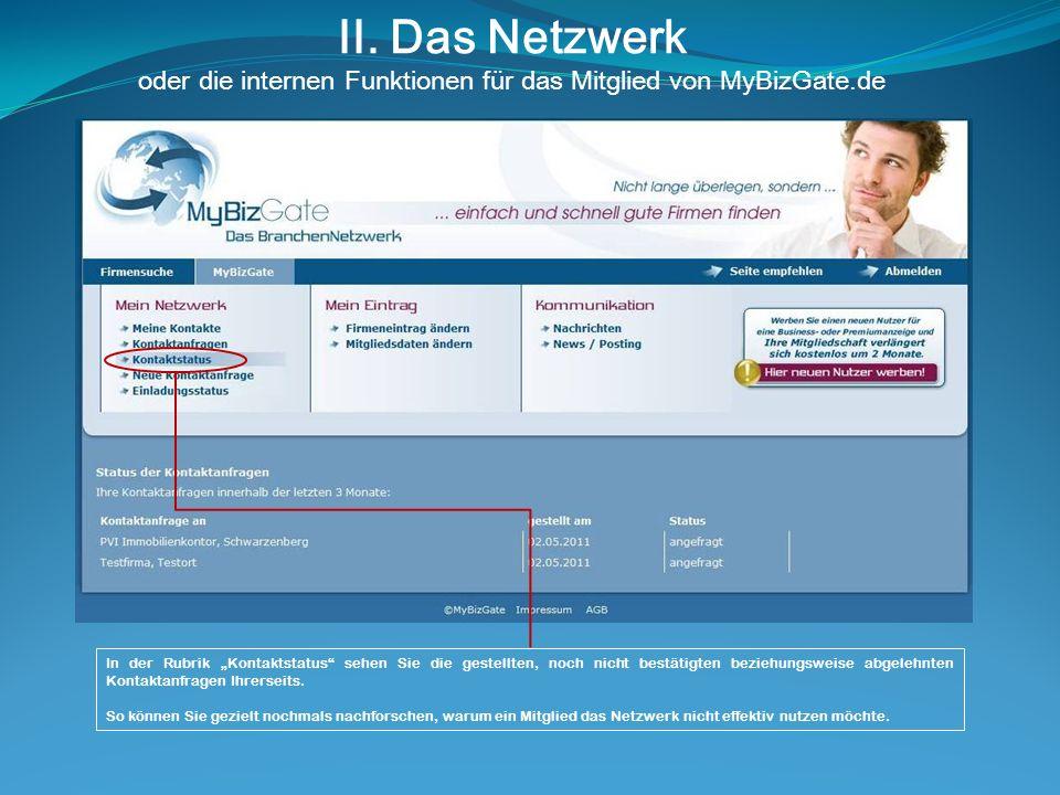 II. Das Netzwerk oder die internen Funktionen für das Mitglied von MyBizGate.de In der Rubrik Kontaktstatus sehen Sie die gestellten, noch nicht bestä