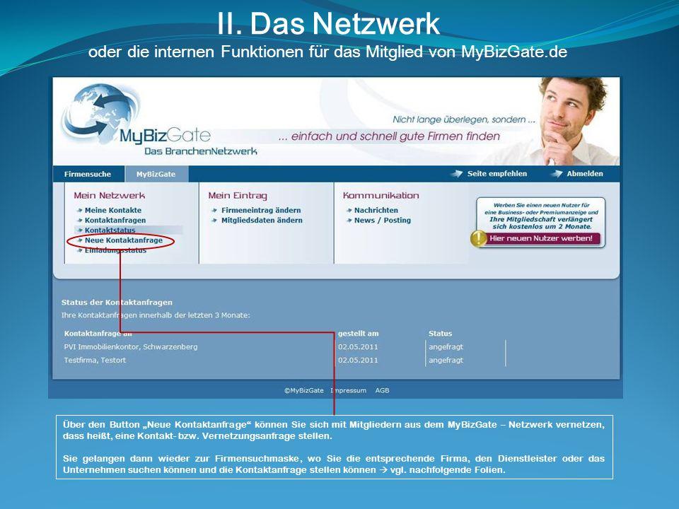 II. Das Netzwerk oder die internen Funktionen für das Mitglied von MyBizGate.de Über den Button Neue Kontaktanfrage können Sie sich mit Mitgliedern au