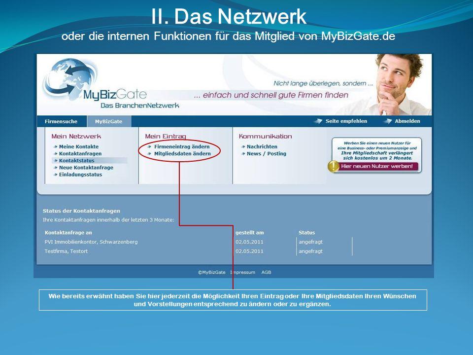 II. Das Netzwerk oder die internen Funktionen für das Mitglied von MyBizGate.de Wie bereits erwähnt haben Sie hier jederzeit die Möglichkeit Ihren Ein