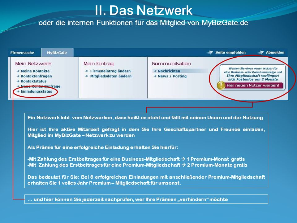 II. Das Netzwerk oder die internen Funktionen für das Mitglied von MyBizGate.de Ein Netzwerk lebt vom Netzwerken, dass heißt es steht und fällt mit se