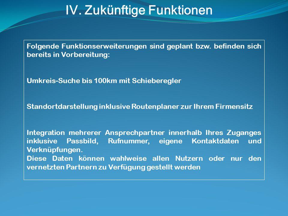 IV. Zukünftige Funktionen Folgende Funktionserweiterungen sind geplant bzw.