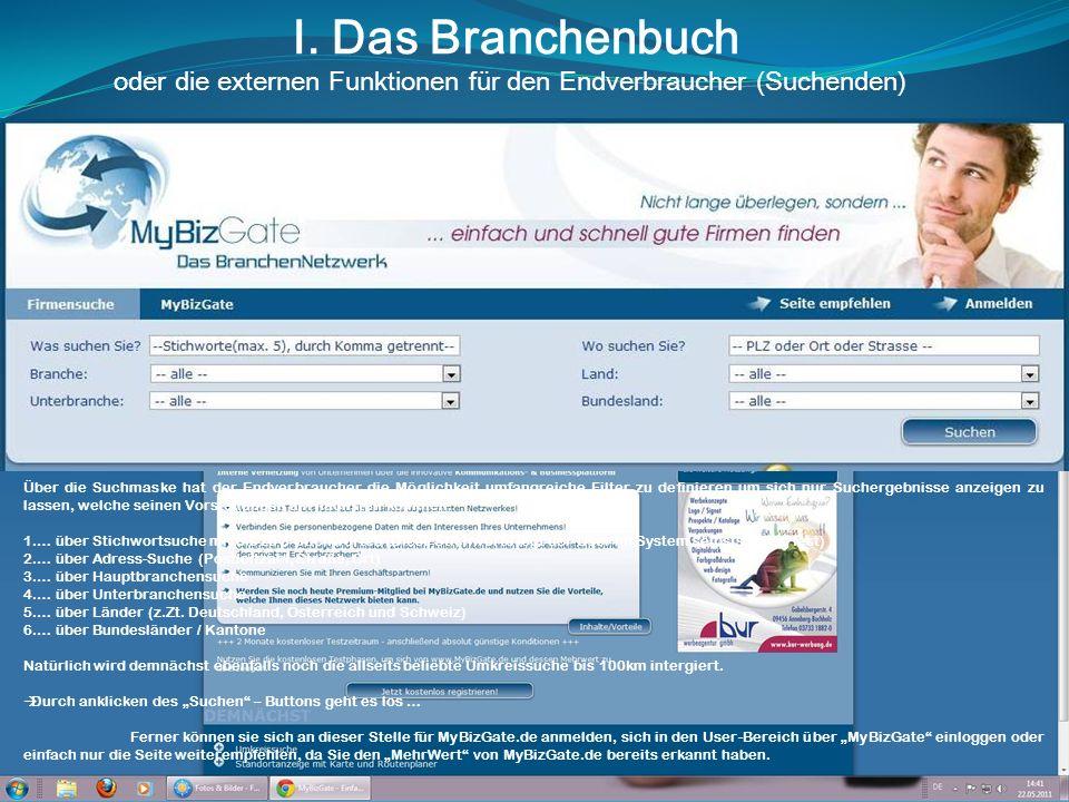 I. Das Branchenbuch oder die externen Funktionen für den Endverbraucher (Suchenden) Über die Suchmaske hat der Endverbraucher die Möglichkeit umfangre